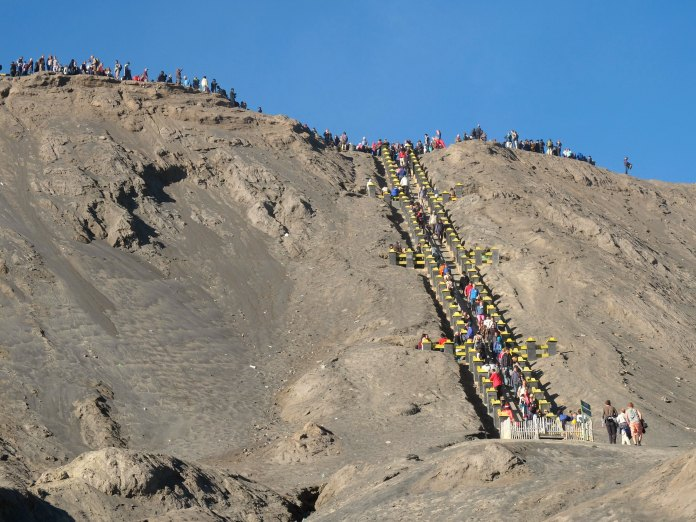 Stairway to Mount Bromo's crater