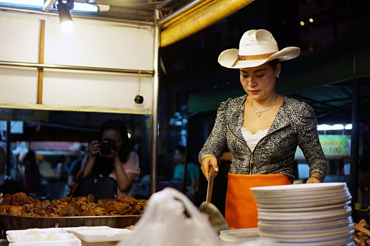 Cow girl selling rice with pork leg Chiang Mai