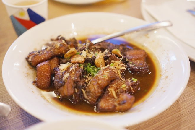 filipino food chicken and pork adobo