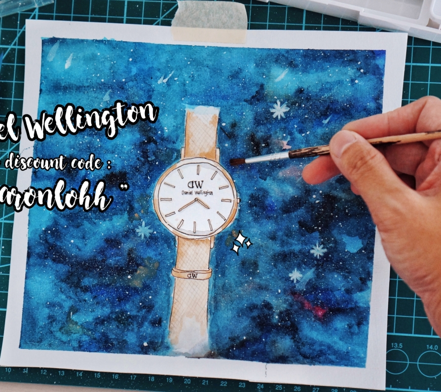 belajar watercolor daniel wellington valentine promo